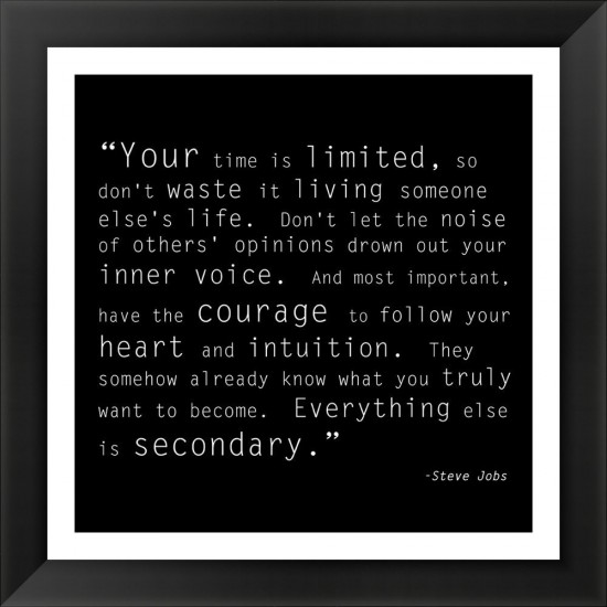 Steve Jobs Time is Limited Quote Poster
